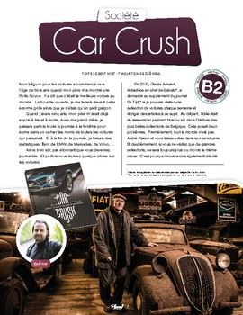 Car Crush - text in French + activities