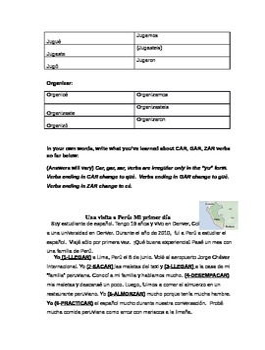 Car, Gar, Zar Verbs Spanish Irregular Preterite Activities and Worksheets