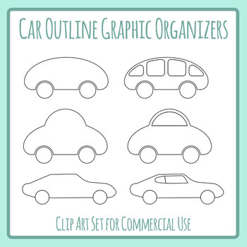 Car Graphic Organizers / Simple Outline Templates Clip Art Set Commercial Use