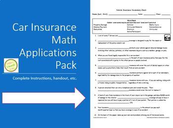 Car Insurance Math Applications Facts - Real World