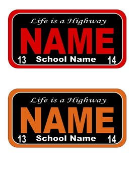 Car License Plate Name Decorations