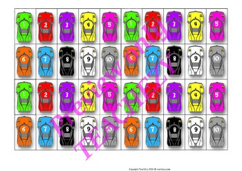 Car Mats Numbers to 10 and Colours