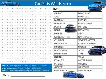 Car Parts Wordsearch Puzzle Sheet Keywords Homework Vehicles Mechanic