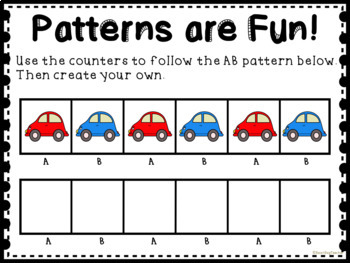 Car Patterns for Math Centers