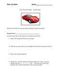 Car Purchase, Calculating Interest and Payments