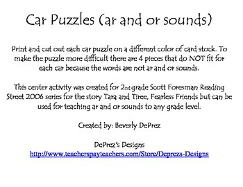 Car Puzzles Ar and Or Sounds Reading Street Grade 2 Tara and Tiree