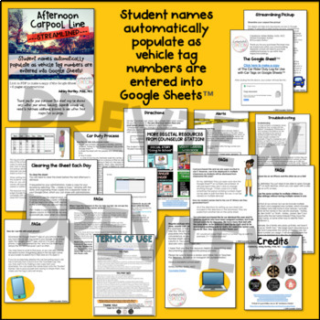 Car Rider Duty Log - Populates Student Names as Vehicle Tag Numbers are Entered