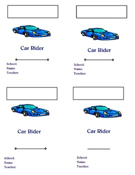 Car Rider Tags / Dismissal
