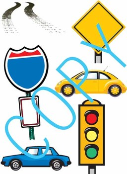 Car, Road Signs and Tire Marks - Clip Art
