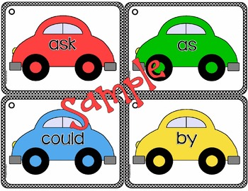 Car Sight Word Ring Books - 220 Dolch Words - Learning Center