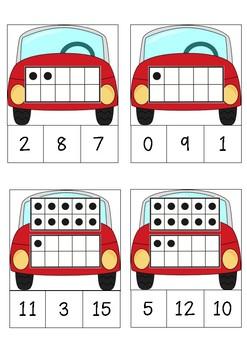 Car Ten Frames 1-20 Clip Cards