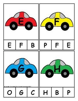 Car Themed Alphabet Clip Cards