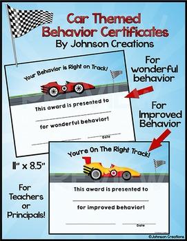 Car Themed Behavior Certificates