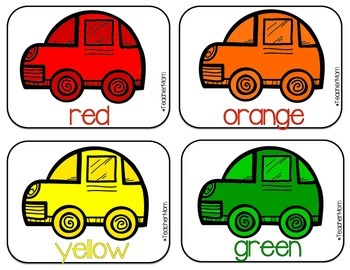 Car Themed Color Sorting Mats {#TeacherMom}