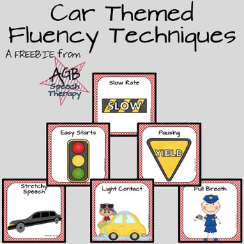 Car Themed Fluency Techniques Posters and Cards