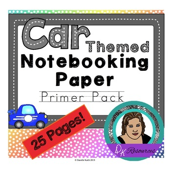 Notebooking Paper - Primary Lines Writing Paper - Cool Car