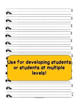 Car Themed Notebooking Paper - Writing Paper - Wide Rule and Guide Lines!