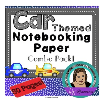 Car Themed Notebooking Paper - Writing Paper - Wide Rule a