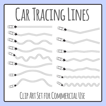 Car Tracing Lines for Fine Motor Control Clip Art for Commercial Use