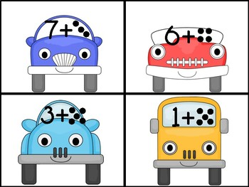 Car/Transportation Counting On Addition to 10 Center Game
