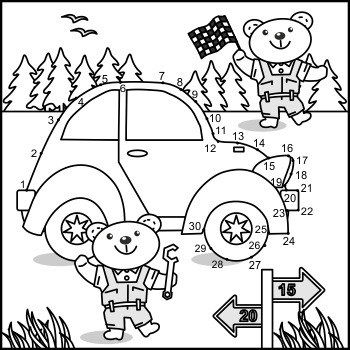 Connect the Dots and Coloring Page with Car and Mechanics, Commercial Use All