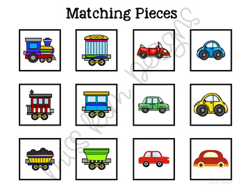 Car and Train Sorting File Folder Game for Early Childhood Special Education