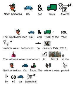 Car and Truck 2018 Awards - picture supported text lesson review visuals
