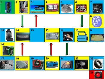 Car parts and vehicles Game board power point version