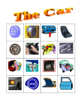 Car parts in English Bingo game