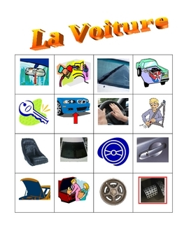 Car parts in French Bingo game