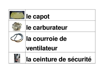 Car parts in French word wall