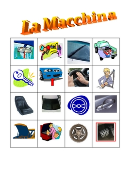 Car parts in Italian Bingo game