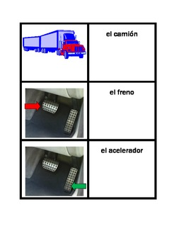 Car parts in Spanish Concentration games
