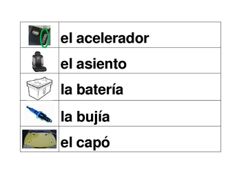 Car parts in Spanish word wall