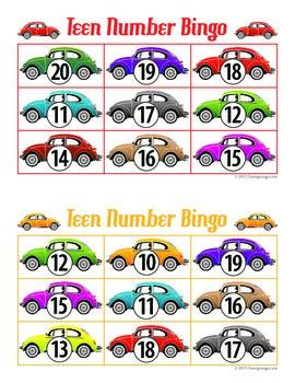 Car teen number bingo