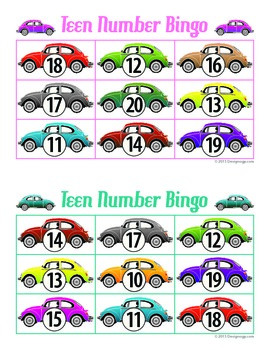 Car teen number bingo