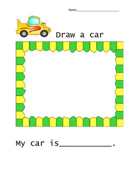 Car worksheet for Kindergarten/First grade