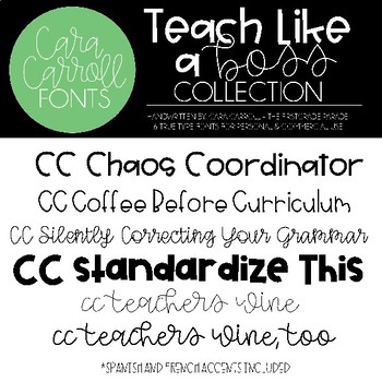 Cara Carroll Fonts:  Teach Like a Boss Collection