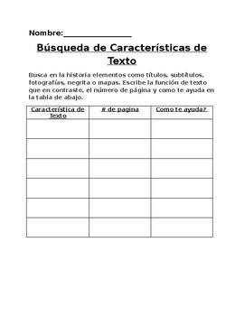Características de texto Búsqueda Organizador