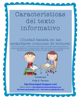 Non Fiction Text Features in Spanish ( No Prep / Common Core Aligned )