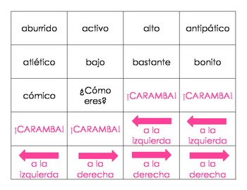 ¡Caramba! vocab game for Spanish 1 - Personal Descriptions, Likes and Dislikes