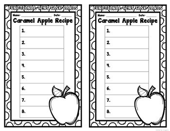 Caramel Apple Recipe Functional Text Task Cards
