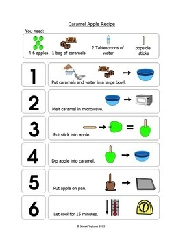 Visual Recipe: Caramel Apples - with Sequencing and Questions