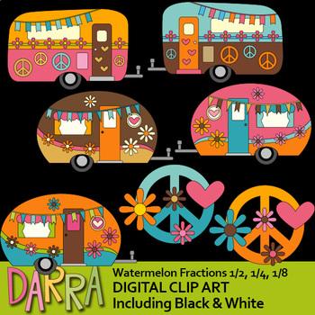 Caravan  clip art / Retro hippie camper peace sign clipart