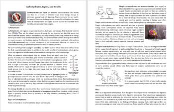 Carbohydrates, Lipids, and Health Reading Comprehension Article - Grade 8 and Up