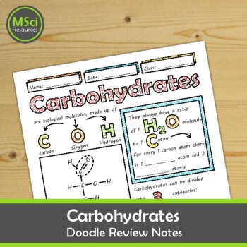 Carbohydrates Middle and High School Chemistry Biology Doodle Notes