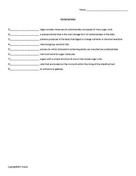 Carbohydrates Quiz or Worksheet for Nutrition and Health Students