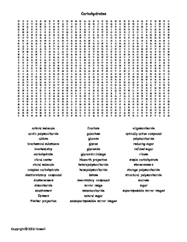 Carbohydrates Vocabulary Word Search for Biological Chemistry