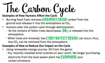 Carbon Cycle Board Game/Notes