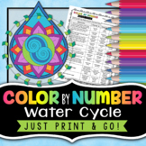 Water Cycle Color By Number - Science Color By Number - Use as a review or quiz